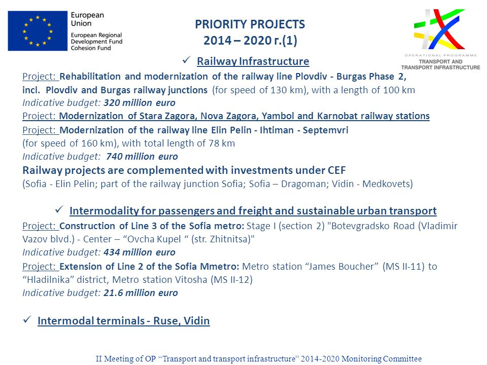 PRIORITY PROJECTS 2014 – 2020 г.(1) Railway Infrastructure Project: Rehabilitation and modernization of the railway line Plovdiv - Burgas Phase 2, incl.
