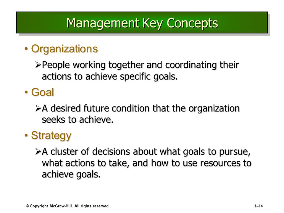 © Copyright McGraw-Hill. All rights reserved.1–14 Management Key Concepts OrganizationsOrganizations  People working together and coordinating their