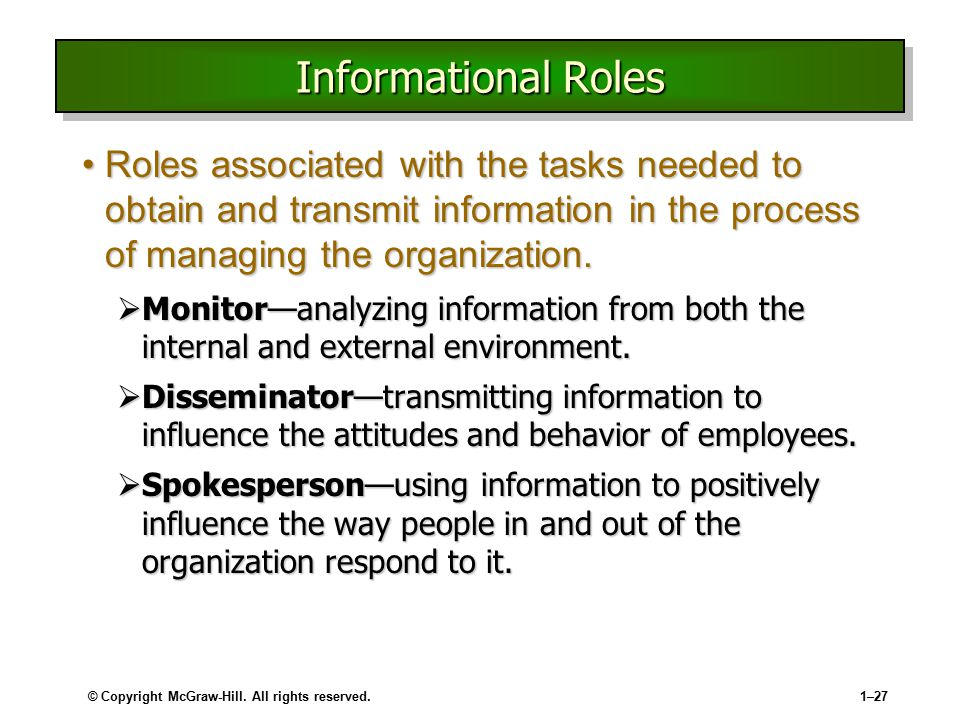 © Copyright McGraw-Hill. All rights reserved.1–27 Informational Roles Roles associated with the tasks needed to obtain and transmit information in the