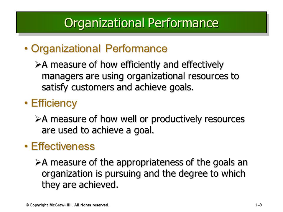 © Copyright McGraw-Hill. All rights reserved.1–91–9 Organizational Performance Organizational PerformanceOrganizational Performance  A measure of how