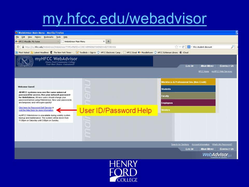 6 myhfcceduwebadvisor user idpassword help