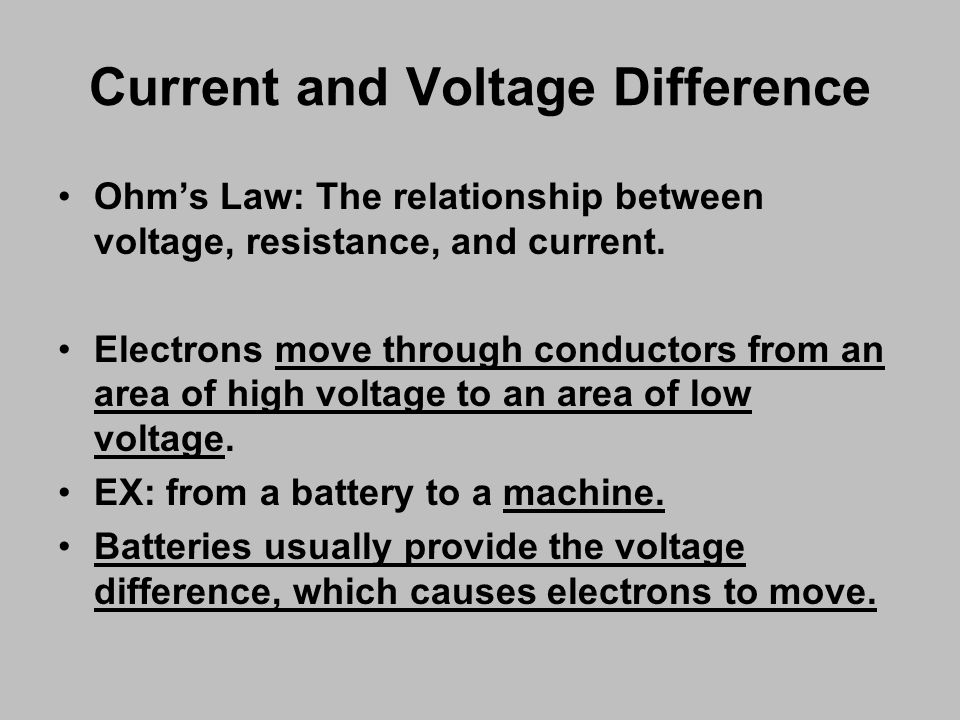 Ohm's Law: The relationship between voltage, resistance, and current.