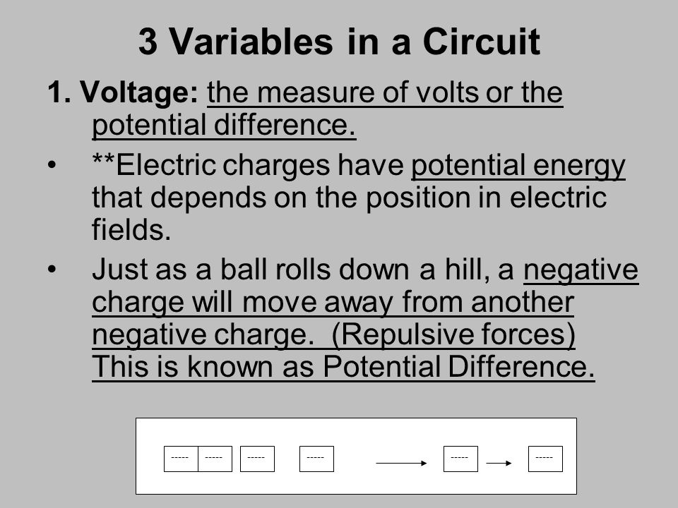 3 Variables in a Circuit 1. Voltage: the measure of volts or the potential difference.