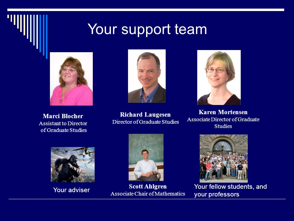 Richard Laugesen Director of Graduate Studies Karen Mortensen Associate Director of Graduate Studies Marci Blocher Assistant to Director of Graduate Studies Scott Ahlgren Associate Chair of Mathematics Your support team Your adviser Your fellow students, and your professors
