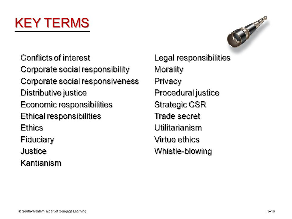 KEY TERMS © South-Western, a part of Cengage Learning3–16 Conflicts of interest Corporate social responsibility Corporate social responsiveness Distributive justice Economic responsibilities Ethical responsibilities EthicsFiduciaryJusticeKantianism Legal responsibilities MoralityPrivacy Procedural justice Strategic CSR Trade secret Utilitarianism Virtue ethics Whistle-blowing