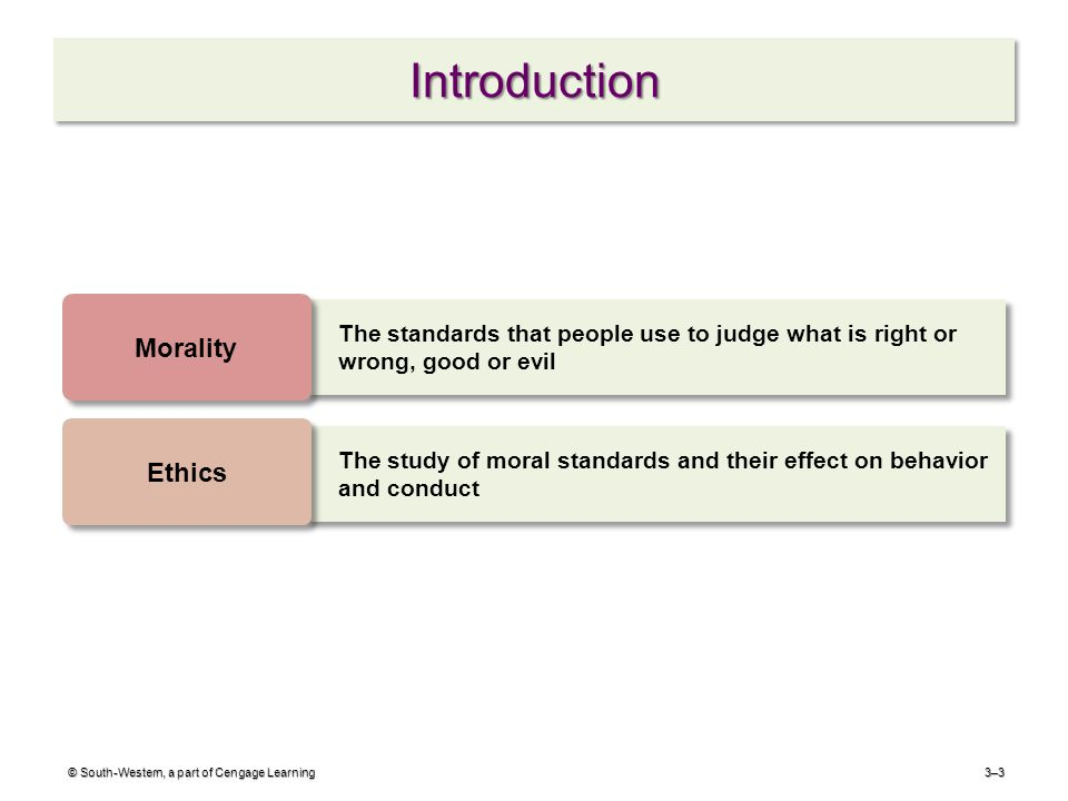 IntroductionIntroduction 3–3 The standards that people use to judge what is right or wrong, good or evil Morality The study of moral standards and their effect on behavior and conduct Ethics