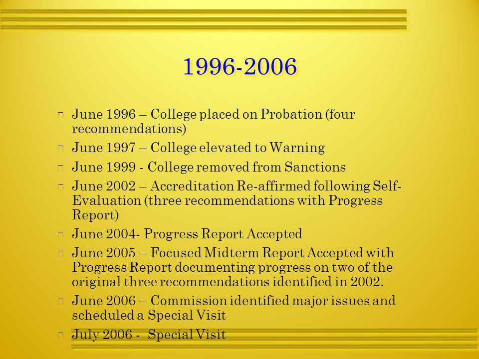   June 1996 – College placed on Probation (four recommendations)   June 1997 – College elevated to Warning   June College removed from Sanctions   June 2002 – Accreditation Re-affirmed following Self- Evaluation (three recommendations with Progress Report)   June Progress Report Accepted   June 2005 – Focused Midterm Report Accepted with Progress Report documenting progress on two of the original three recommendations identified in 2002.