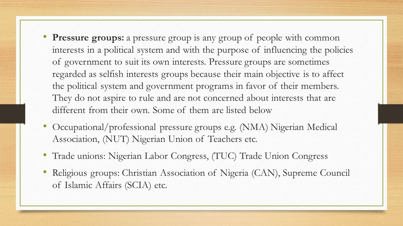 Pressure groups: a pressure group is any group of people with common interests in a political system and with the purpose of influencing the policies