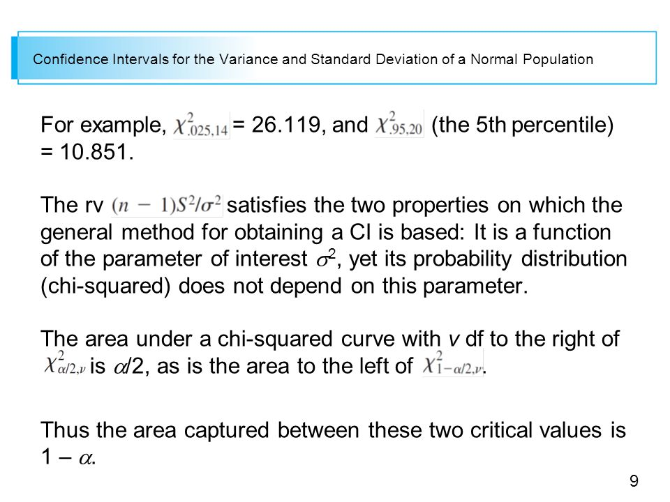 9 Confidence Intervals for the Variance and Standard Deviation of a Normal Population For example, = , and (the 5th percentile) =