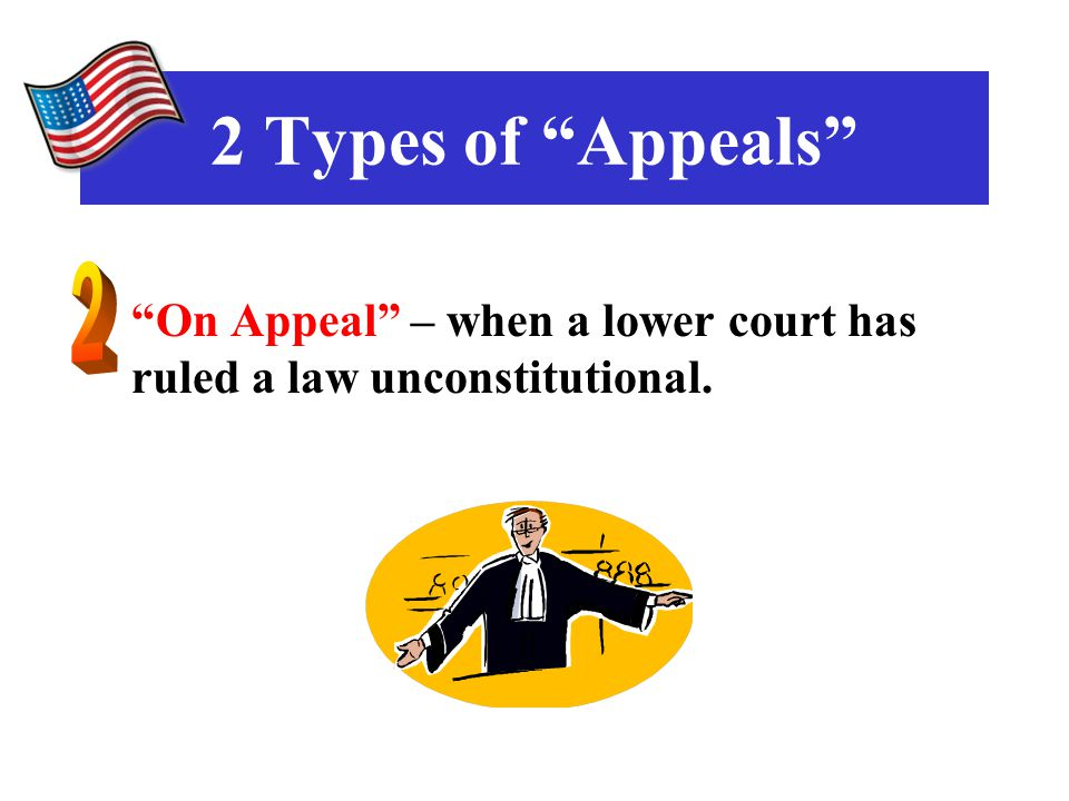 On Appeal – when a lower court has ruled a law unconstitutional. 2 Types of Appeals