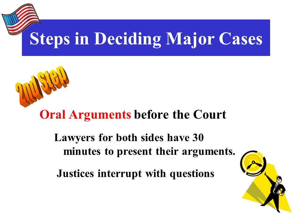 Oral Arguments before the Court Lawyers for both sides have 30 minutes to present their arguments.