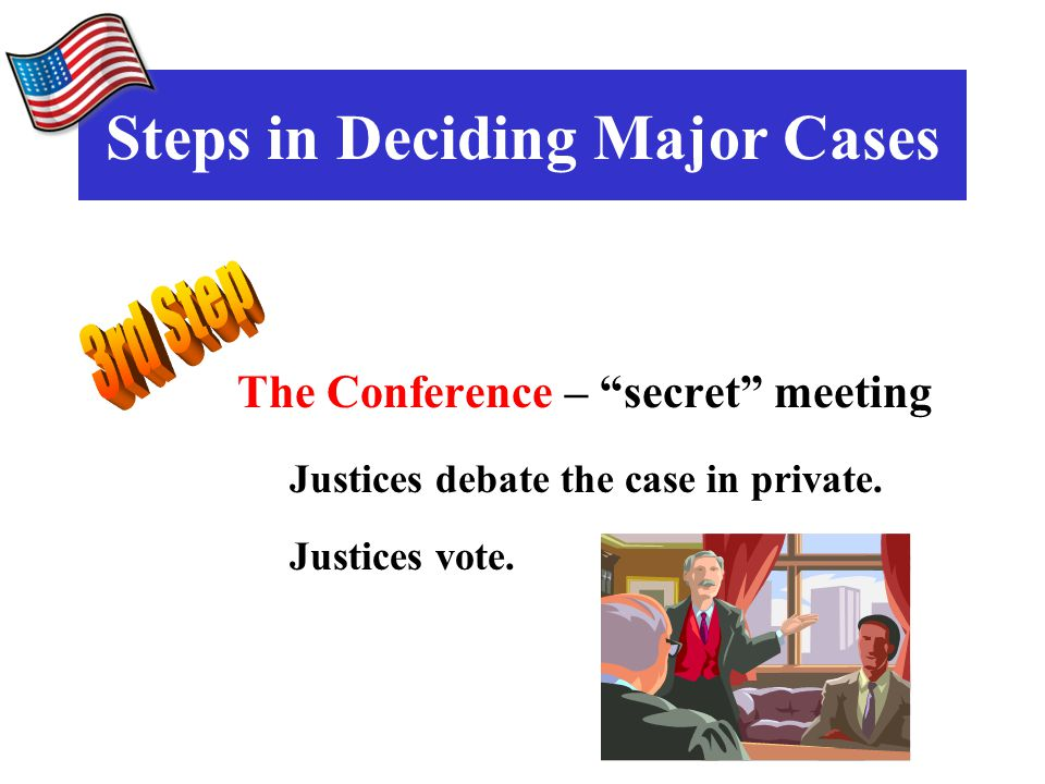 The Conference – secret meeting Justices debate the case in private.