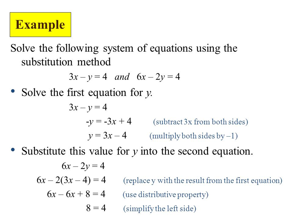 Solve the following system of equations using the substitution method 3x – y = 4 and 6x – 2y = 4 Solve the first equation for y.