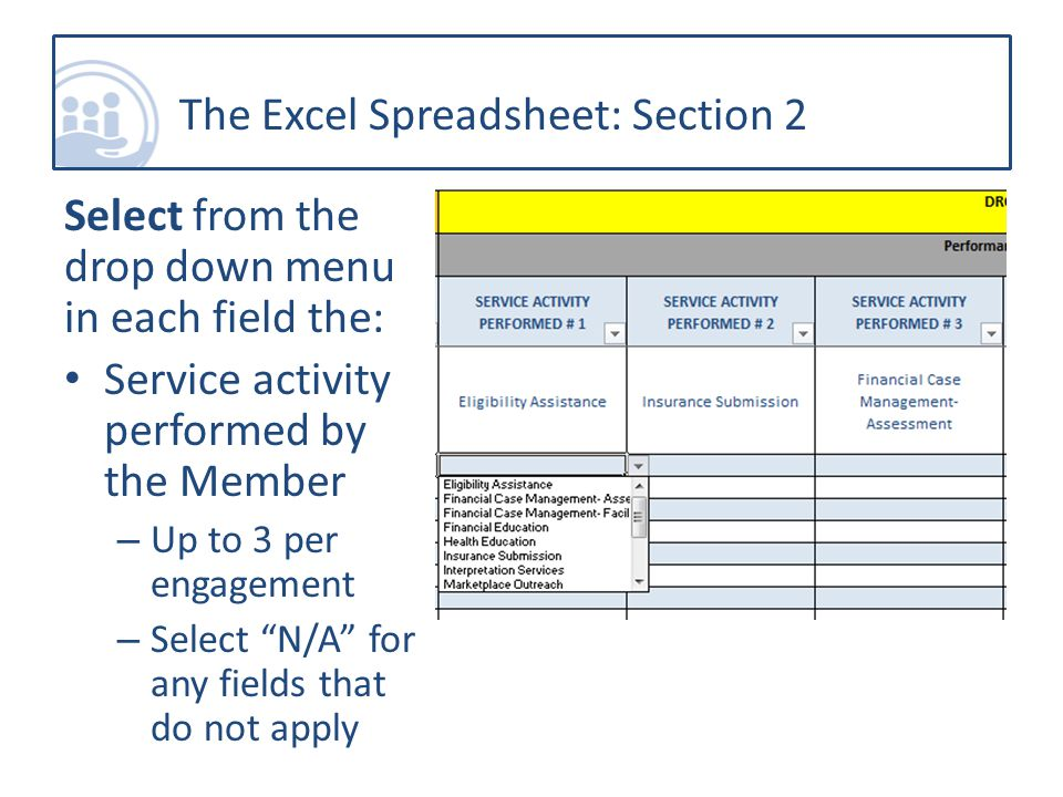 The Excel Spreadsheet: Section 2 Select from the drop down menu in each field the: Service activity performed by the Member – Up to 3 per engagement – Select N/A for any fields that do not apply