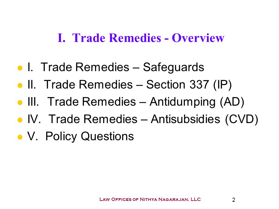"Presentation ""1 Outline of US Trade Remedies Antidumping and CVD ..."