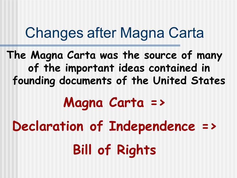 Changes after Magna Carta The Magna Carta was the source of many of the important ideas contained in founding documents of the United States Magna Carta => Declaration of Independence => Bill of Rights