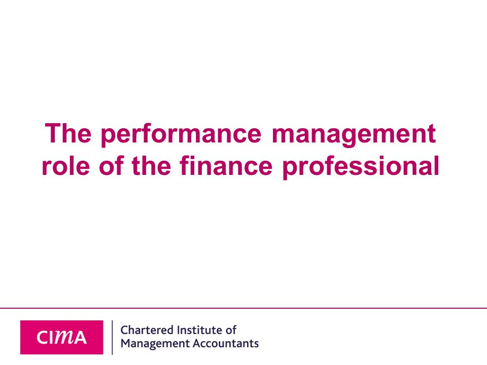 The performance management role of the finance professional