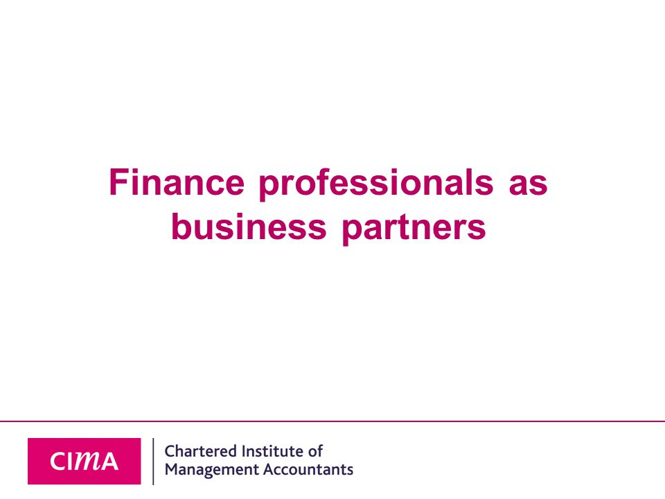 Finance professionals as business partners