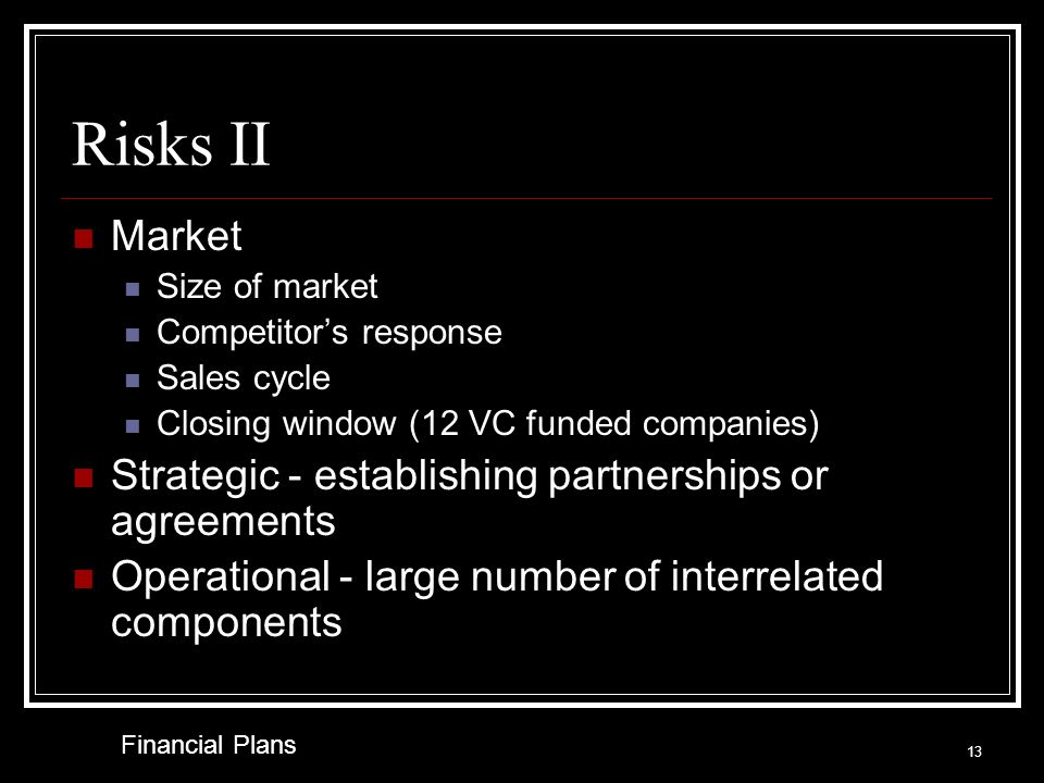 Risks I What major risks does the venture face. What can go wrong.