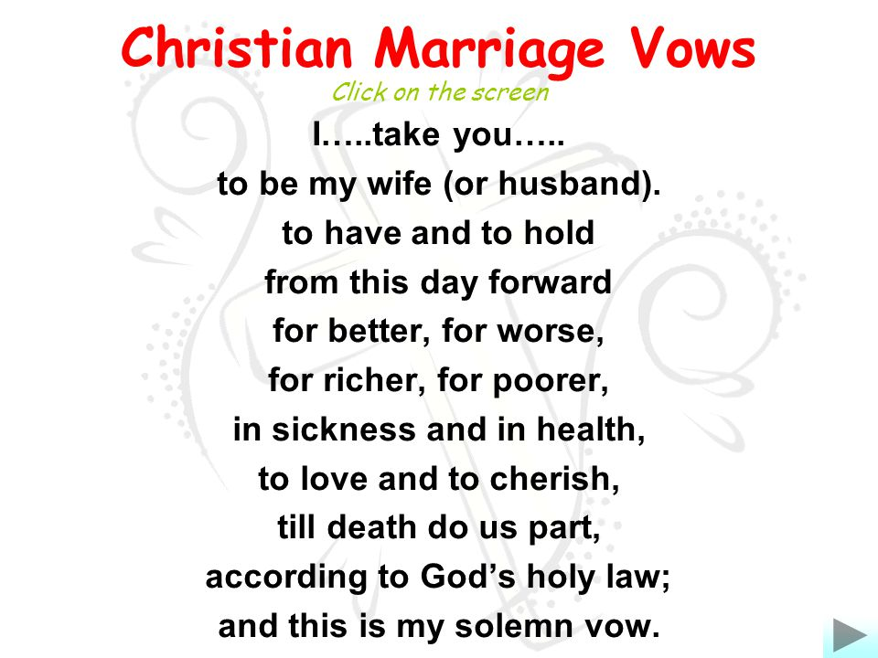 Marriage Vows I Take You To Be My Wife