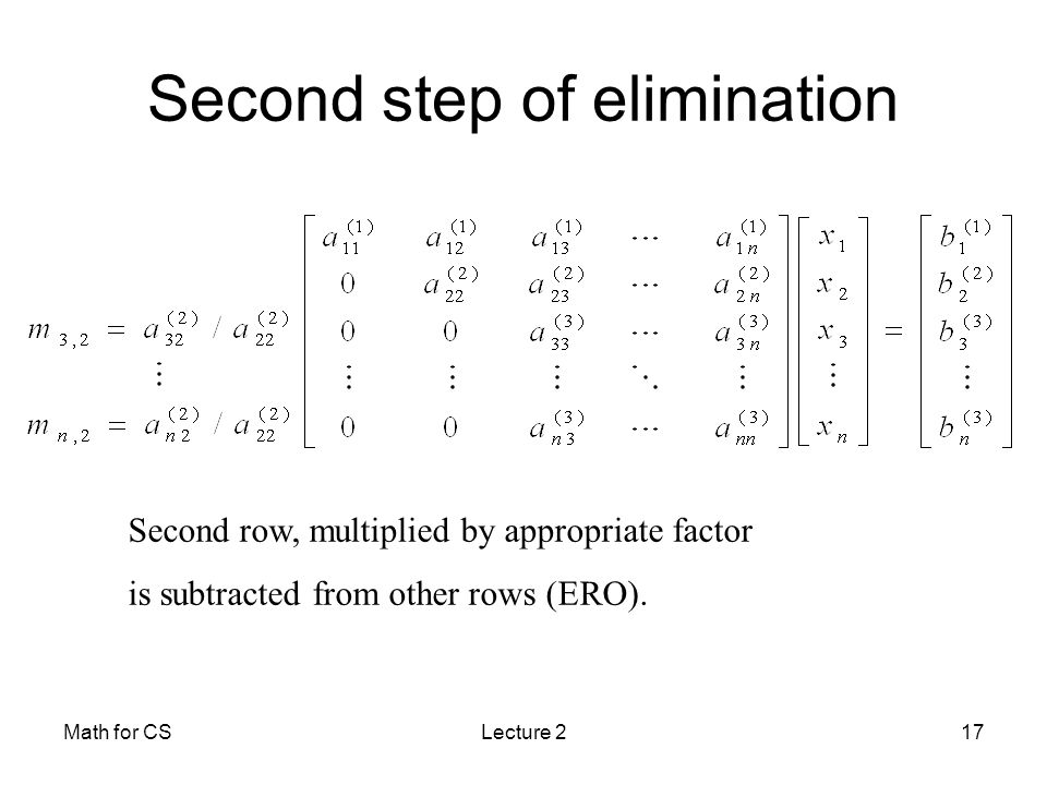 Math for CSLecture 217 Second step of elimination Second row, multiplied by appropriate factor is subtracted from other rows (ERO).