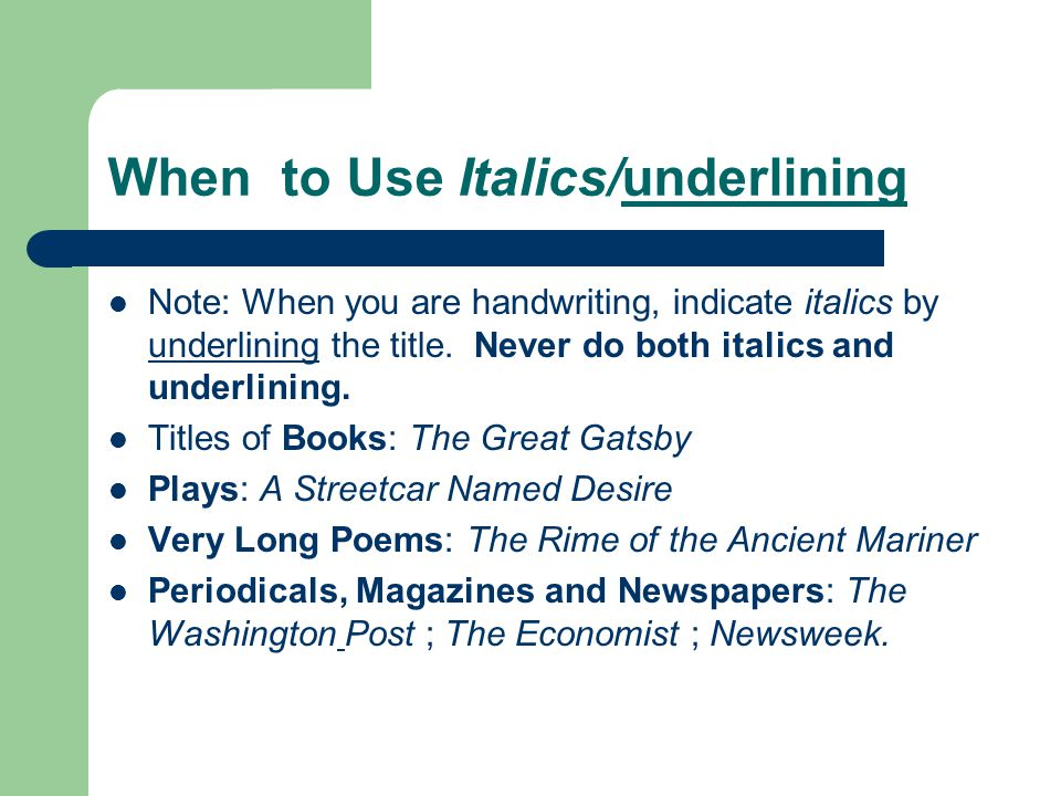 Use of italics and underlining in titles