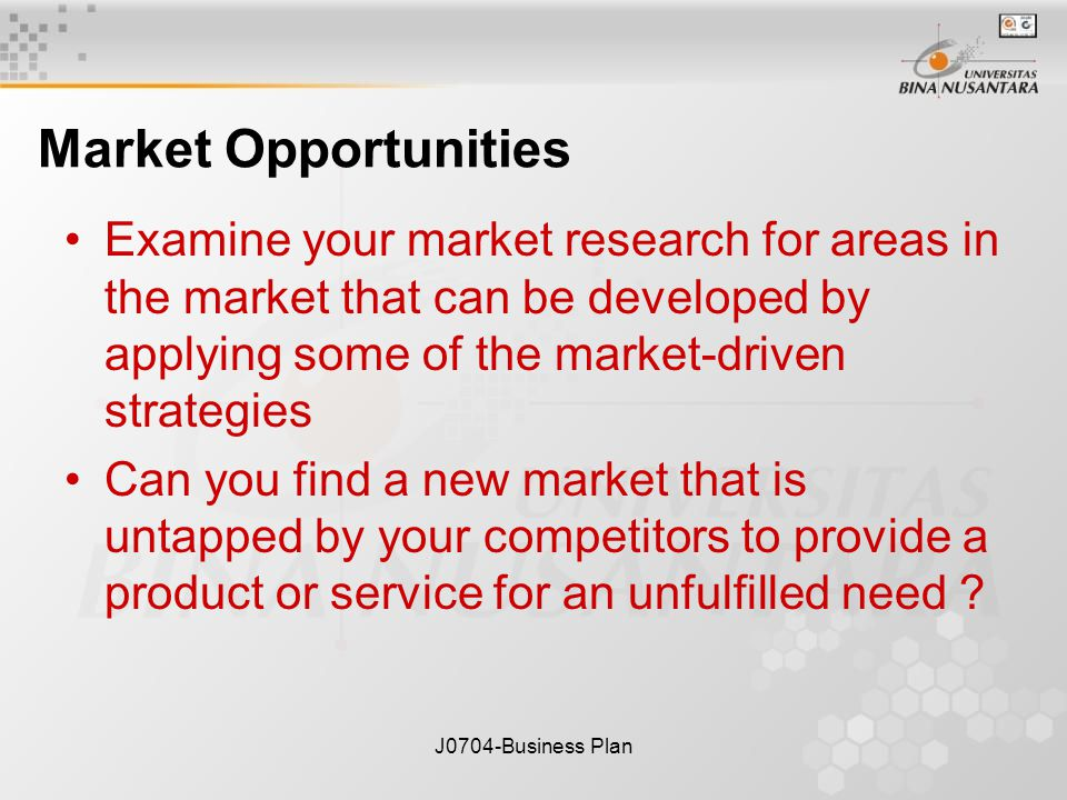 J0704-Business Plan Market Opportunities Examine your market research for areas in the market that can be developed by applying some of the market-driven strategies Can you find a new market that is untapped by your competitors to provide a product or service for an unfulfilled need