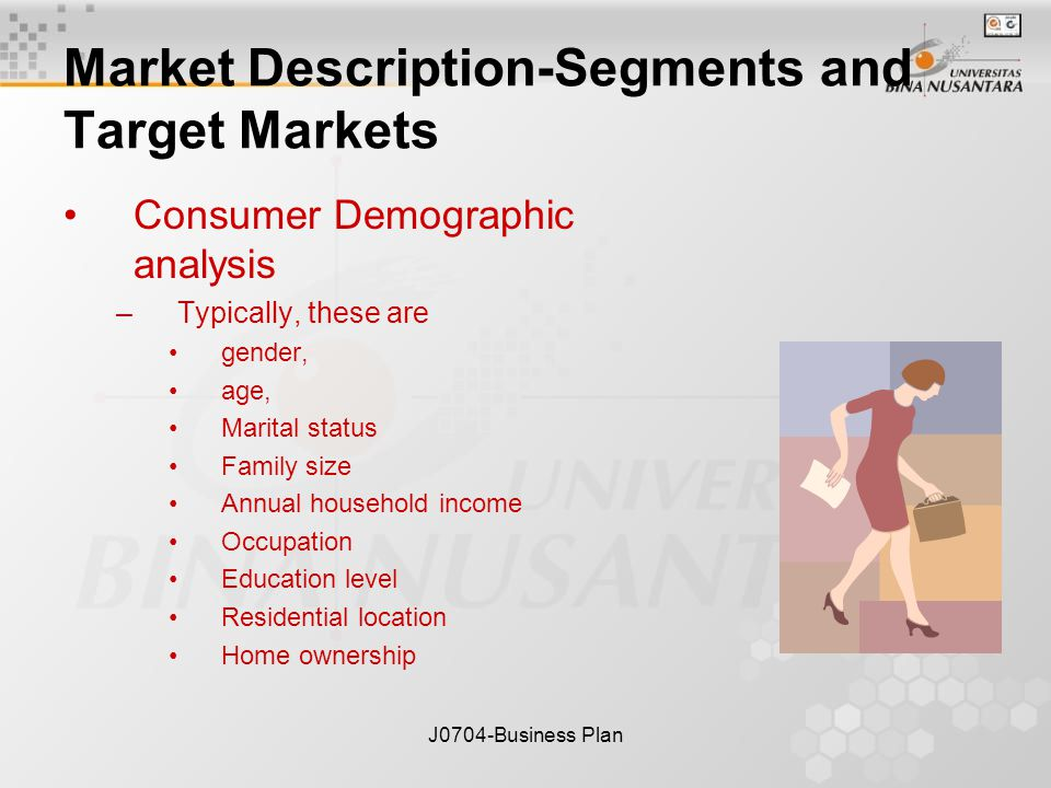 J0704-Business Plan Market Description-Segments and Target Markets Consumer Demographic analysis –Typically, these are gender, age, Marital status Family size Annual household income Occupation Education level Residential location Home ownership