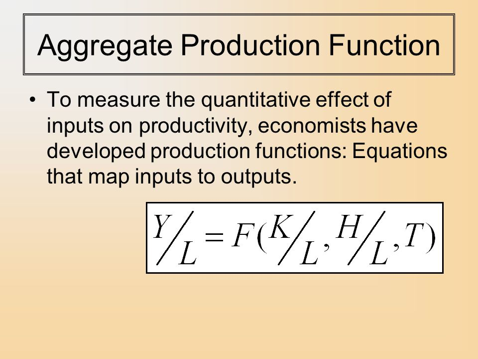 Aggregate Production Function To measure the quantitative effect of inputs on productivity, economists have developed production functions: Equations that map inputs to outputs.