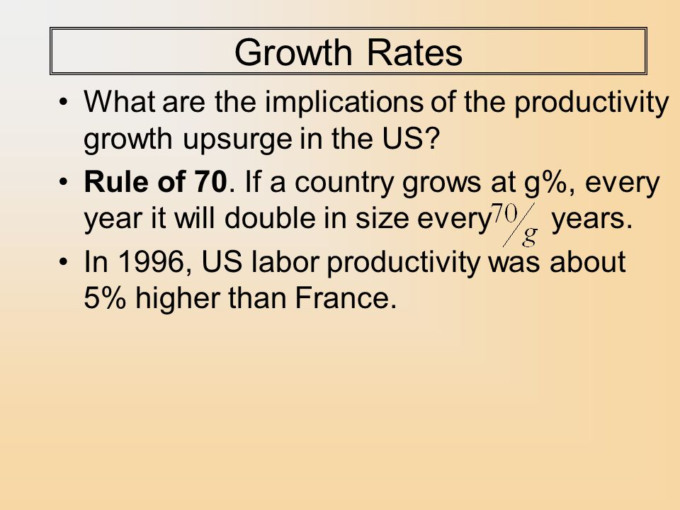 Growth Rates What are the implications of the productivity growth upsurge in the US.