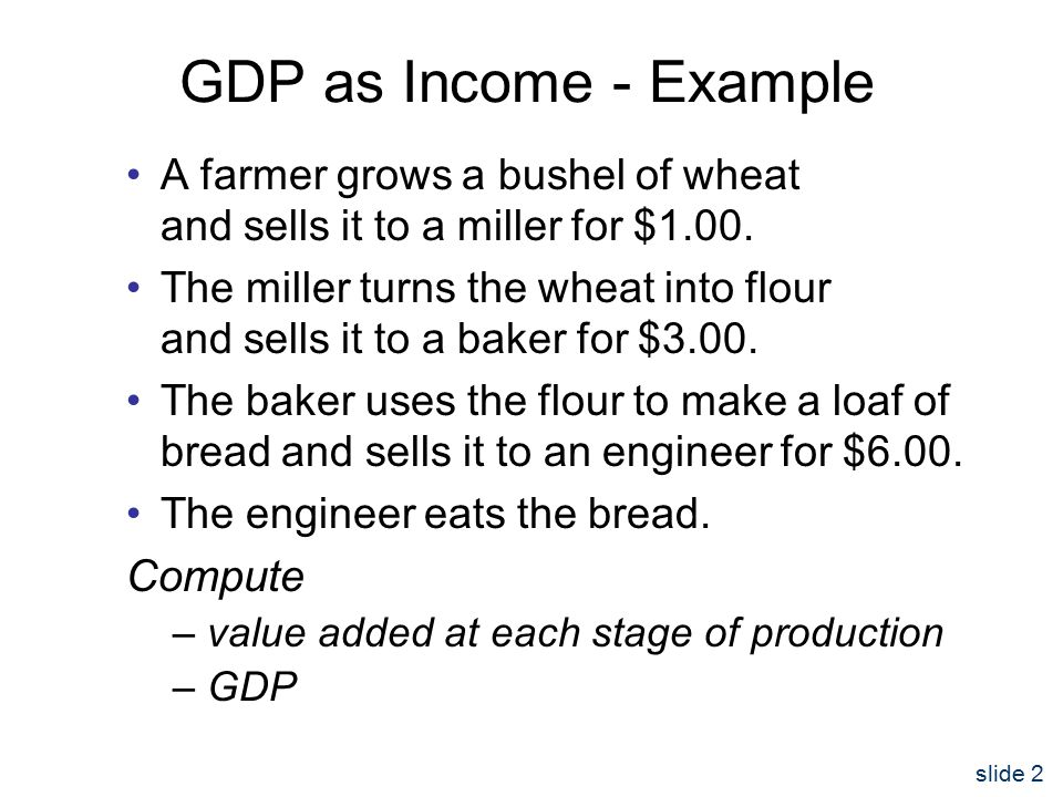 slide 2 GDP as Income - Example A farmer grows a bushel of wheat and sells it to a miller for $1.00.