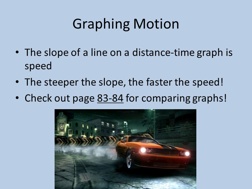 Graphing Motion The slope of a line on a distance-time graph is speed The steeper the slope, the faster the speed.