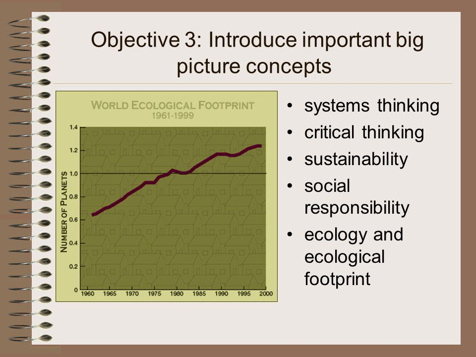 Objective 3: Introduce important big picture concepts systems thinking critical thinking sustainability social responsibility ecology and ecological footprint