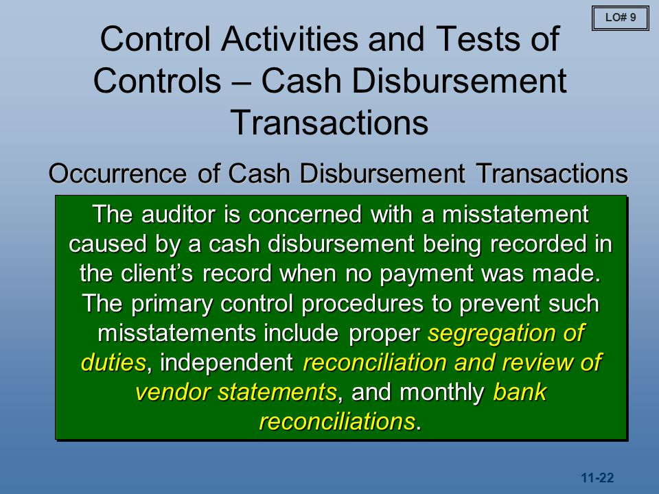 11-22 Control Activities and Tests of Controls – Cash Disbursement Transactions Occurrence of Cash Disbursement Transactions The auditor is concerned with a misstatement caused by a cash disbursement being recorded in the client's record when no payment was made.