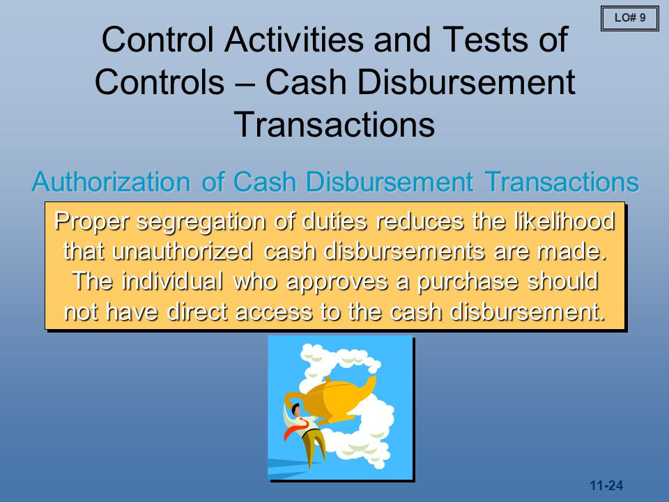 11-24 Control Activities and Tests of Controls – Cash Disbursement Transactions Authorization of Cash Disbursement Transactions Proper segregation of duties reduces the likelihood that unauthorized cash disbursements are made.