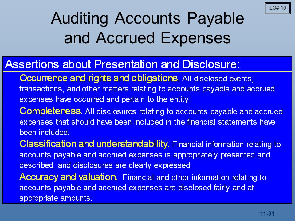 11-31 Auditing Accounts Payable and Accrued Expenses LO# 10