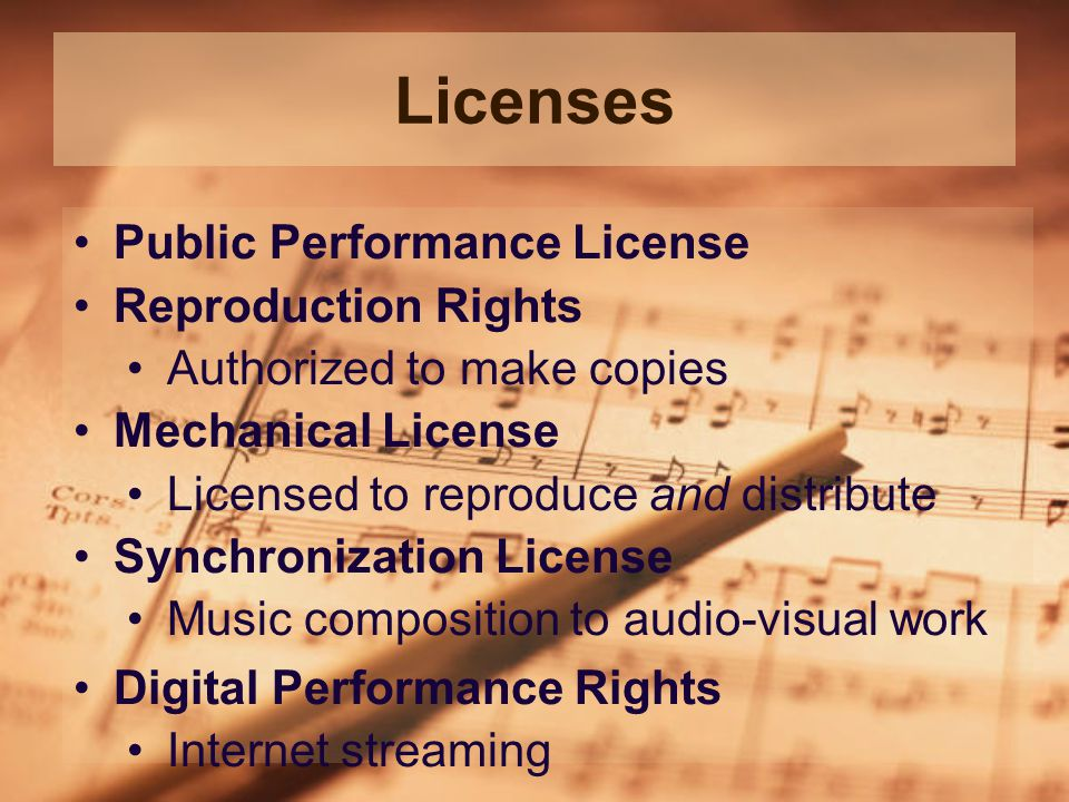 Licenses Public Performance License Reproduction Rights Authorized to make copies Mechanical License Licensed to reproduce and distribute Synchronization License Music composition to audio-visual work Digital Performance Rights Internet streaming