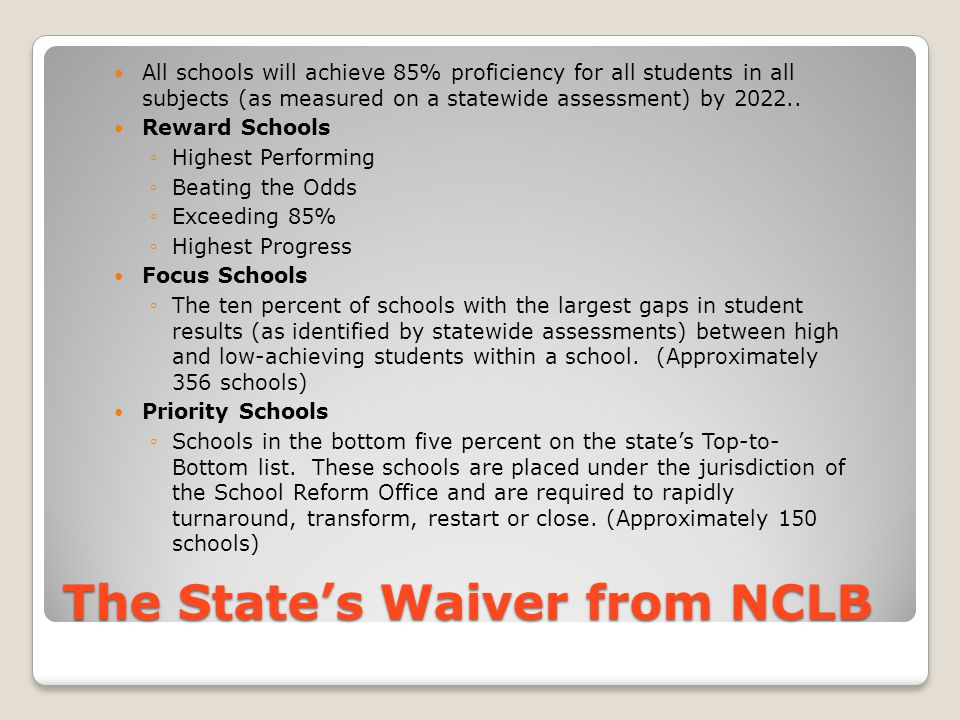 The State's Waiver from NCLB All schools will achieve 85% proficiency for all students in all subjects (as measured on a statewide assessment) by