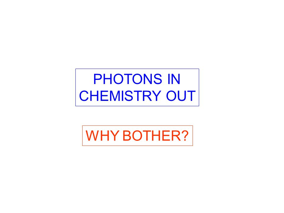 PHOTONS IN CHEMISTRY OUT WHY BOTHER