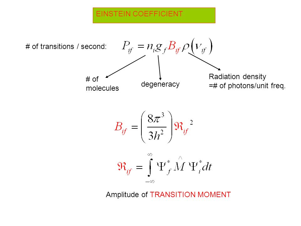 EINSTEIN COEFFICIENT # of transitions / second: Amplitude of TRANSITION MOMENT # of molecules degeneracy Radiation density =# of photons/unit freq.