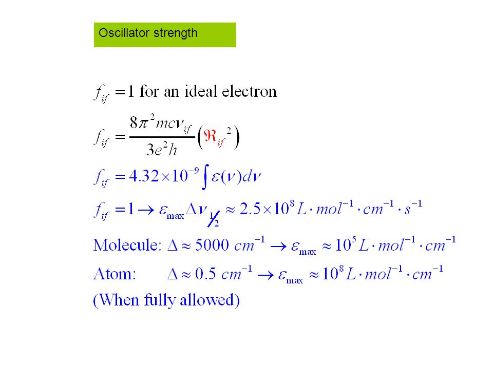 Oscillator strength
