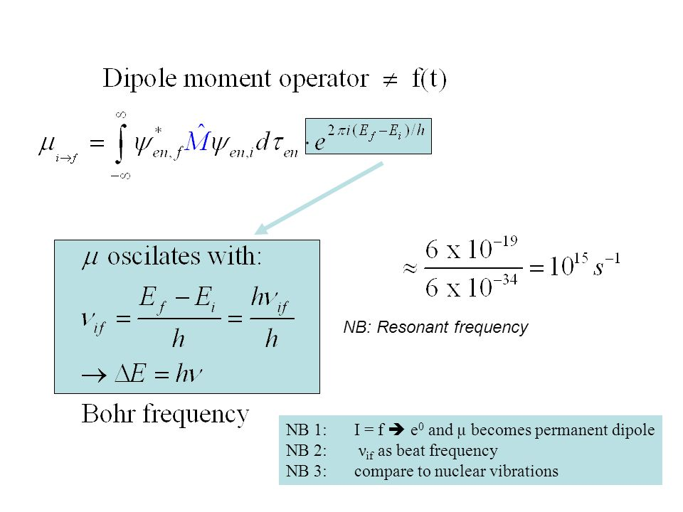 NB: Resonant frequency NB 1: I = f  e 0 and µ becomes permanent dipole NB 2: ν if as beat frequency NB 3:compare to nuclear vibrations