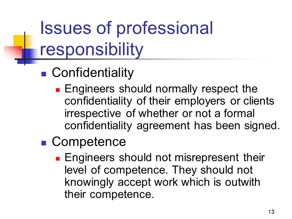 13 Issues of professional responsibility Confidentiality Engineers should normally respect the confidentiality of their employers or clients irrespective of whether or not a formal confidentiality agreement has been signed.