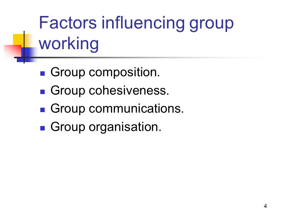 4 Factors influencing group working Group composition.