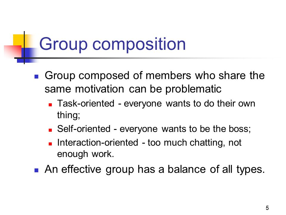 5 Group composition Group composed of members who share the same motivation can be problematic Task-oriented - everyone wants to do their own thing; Self-oriented - everyone wants to be the boss; Interaction-oriented - too much chatting, not enough work.