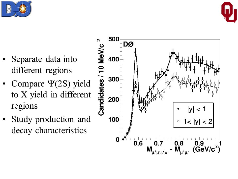 Separate data into different regions Compare  (2S) yield to X yield in different regions Study production and decay characteristics