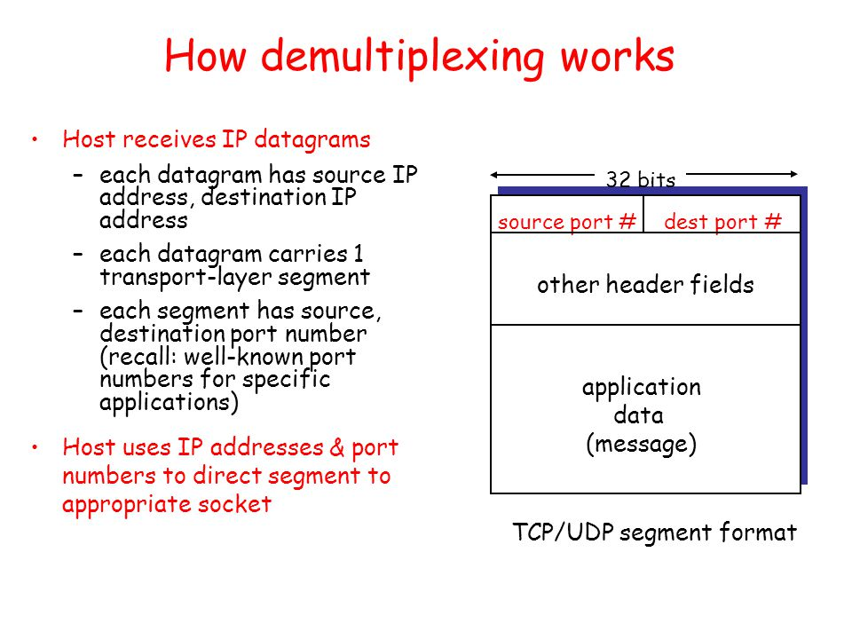 How demultiplexing works Host receives IP datagrams –each datagram has source IP address, destination IP address –each datagram carries 1 transport-layer segment –each segment has source, destination port number (recall: well-known port numbers for specific applications) Host uses IP addresses & port numbers to direct segment to appropriate socket source port #dest port # 32 bits application data (message) other header fields TCP/UDP segment format