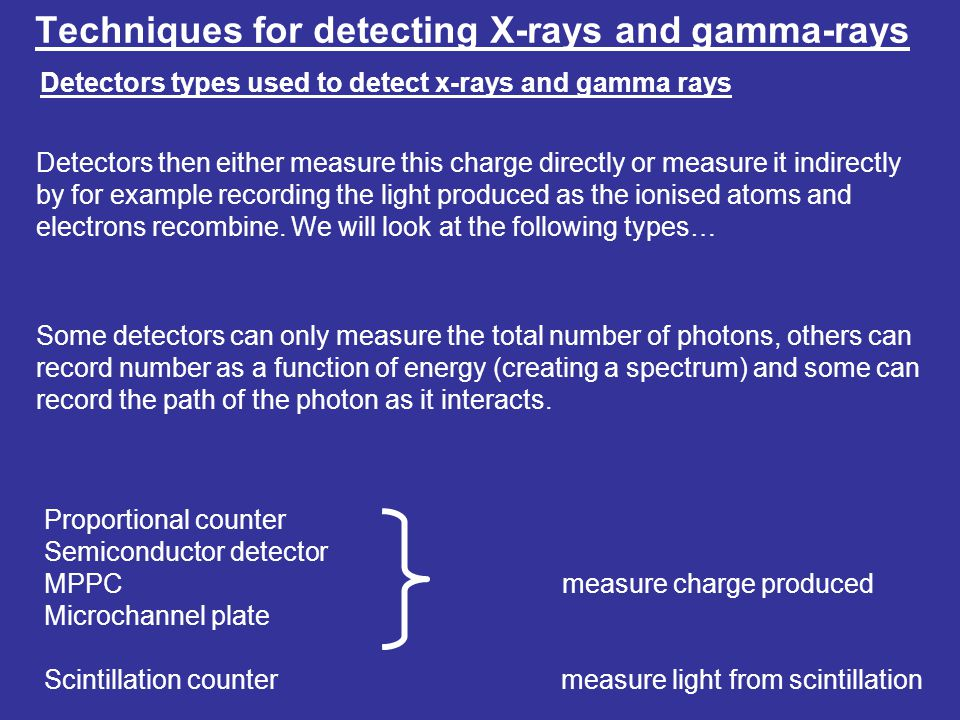 Techniques for detecting X-rays and gamma-rays Detectors types used to detect x-rays and gamma rays Detectors then either measure this charge directly or measure it indirectly by for example recording the light produced as the ionised atoms and electrons recombine.