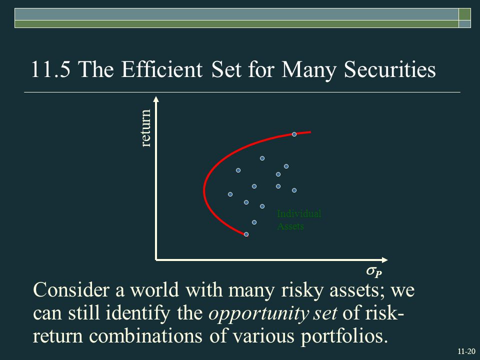 The Efficient Set for Many Securities Consider a world with many risky assets; we can still identify the opportunity set of risk- return combinations of various portfolios.