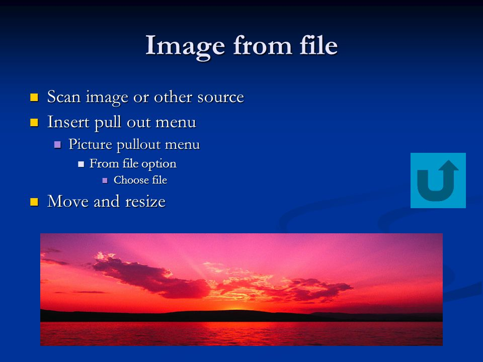 Image from file Scan image or other source Scan image or other source Insert pull out menu Insert pull out menu Picture pullout menu Picture pullout menu From file option From file option Choose file Choose file Move and resize Move and resize